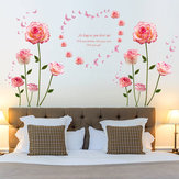 Miico SK9337 Pink Rose Bedroom And Living Room Wall Sticker Decorative Stickers DIY Stickers  Cabinet Sticker