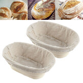 2PCS Rising Long Oval Bread Banneton Brotform Dough Proving Proofing Rattan Bask Storage Baskets