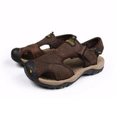 Top Layer Cowhide Men Beach Shoes Leather Outdooe Traveling Wading Anti-Collision Men Sandals