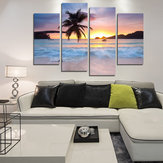 Miico El Boyalı Dört Kombinasyon Dekoratif Resim Sergisi Sahil Hindistan Cevizi Ağacı Duvar Sanat Ev Dekorasyon Için