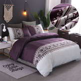 Floral Violet Reversible Duvet Cover Pillowcase Bedding Sets Queen King Size