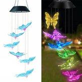 Solar LED Luz colgante Mariposas Campanas de viento Jardín de casa al aire libre Lámpara Decoraciones