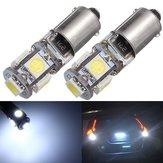 2PCS BAX9S H6W 5-SMD LED Side Marker Lights Tail Parking Interior Bulbs Canbus Error Free 12V 6000K White