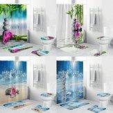 4 Stücke Duschvorhang Wasserdicht Home Bad Badematte Set Teppich Toilettendeckel Abdeckung!