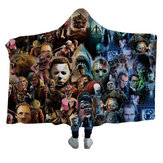 Horror Movie Character Pattern Fleece Hooded Blanket Wearable 2 Layer Blankets Halloween Blanket