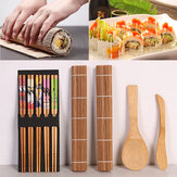 DIY Bamboo Sushi Making Kit 2 Rolling Mats 5 Pairs Chopsticks Rice Spreader Baking Mat