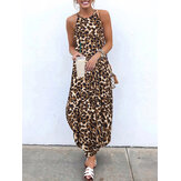Women Casual Leopard Print O-Neck Sleeveless Dress