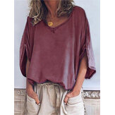 Plus Size V-Neck Batwing Sleeve Casual Women Blouse