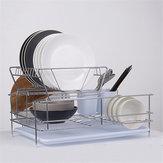 Bulaşık Damlalıklı 2 Katlı Paslanmaz Çelik Mutfak Yıkama Up Raf Tutucu ve Damlama Tepsisi Mutfak Depolama Raf