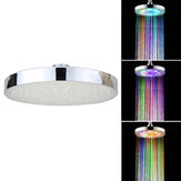 360° Adjustable 8 Inch LED Round Chrome Rain Bathroom Shower Head Rainfall 7 Color Changing Bath