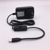 5V 3A Type-C Power Supply US/EU/AU/UK Plug with ON/OFF Switch Power Supply Connector for Raspberry Pi 4