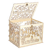 Wooden Loving Deer Wedding Card Box Wedding Money Box Wooden Gift Case With Lock Wedding Birthday Party Anniversary Home