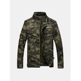 Mens Camo Printing Militer Cotton Outdoor Epaulet Jacket
