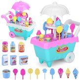 19 PCS Mini Candy Cart Detachable Ice Cream Shop Cart DIY Decoration Toys