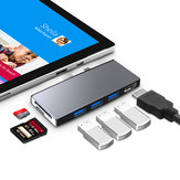 Rocketek SUR759 Surface Pro Hub USB 3.0 Hub Card Reader 4K HD Adapter for TF/SD/Micro SD/SDHC/SDXC Card Surface Pro 4/5/6