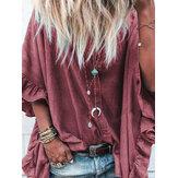 Chemises boutonnées à manches évasées pour femmes