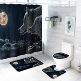 4 Pcs Wolf Bathroom Bath Mat Set Rugs Toilet Lid Cover Shower Curtain Waterproof