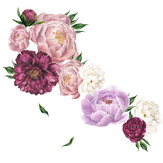 Pink Peony Rose Flowers Vinilo decorativo vendimia Mural Room Home Art Flora Decoraciones