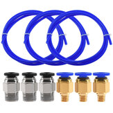 TWO TREES® 3PCS 1 metro Blue PTFE Tube + 3 PC4-M6 Pneumatici Connettore + 3 PC4-M10 Connettores per stampante 3D Filamento 1,75 mm