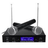 Système de microphone professionnel sans fil double main VHF microphone sans fil karaoké haut-parleur avec Batterie pour le parti KTV