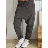 Mulheres casuais calças de harém de cintura elástica solta longa e sólida Calças