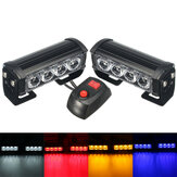 2PCS 12V LED Strobe Flash Lights Front Grille Warning Lamp Waterproof with 7 Flashing Modes Switch for Truck Lorry Trailer