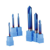Drillpro 2-12mm 90 Degree Nano Blue Coated Chamfer Mill 2 Flutes CNC Milling Cutter