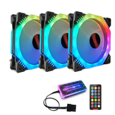 Coolmoon 3PCS 120mm Multilayer Backlit Adjustable RGB Light Computer Case PC Cooling Fan with the Remote Control
