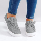 Women Breathable Knitting Knot Flat Loafers