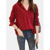 Polka Dot Print V-Neck Long Sleeve Casual Blouse