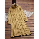 Pure Color High Collar Long Sleeve Knit Dress