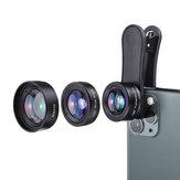Kit de lente de câmera para celular KUULAA 3 em 1 4K HD grande angular lente olho de peixe macro para iPhone 11 Pro Max Huawei P20 Pro Samsung