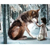 30 * 40 CM DIY 5D Diamond Wolf Girl Bordado Pinturas Ferramenta Colar Ponto Home