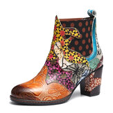 Women Retro Genuine Leather Splicing Pattern Ankle Boots