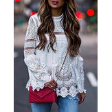Women Casual Loose Long Sleeve Summer Hollow Out Lace Patch Blouse