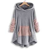 Contrast Color Splice Irregular Hem Hooded Fleece Sweatshirt
