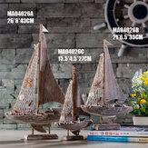 Conjunto de ornamento de veleiro americano Barco de pesca Presente de decoração para casa Resina Decorações 3 tamanhos