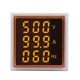 5 stks Geekcreit® 3 in 1 AC 60-500 V 100A Vierkante Gele LED Digitale Voltmeter Ampèremeter Hertz Meter Signaallichten Spanning Stroomfrequentie Combo Meter Indicator Tester Met Ronde CT
