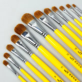 BGLN 6Pcs Weasel Hair Round Head Paint Brush Set  Even/Odd Number Gouache Oil Painting Solid Wood Yellow Handle Paint Brushes Watercolor Pens School Students Art Supplies