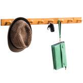 Wieszak Naścienny wieszak na wieszak na szynę Bambusowa drewniana półka na ubrania Kapelusz Uchwyt na ręcznik