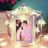12写真結婚式卒業のための回転オルゴールフォトフレーム画像ディスプレイ