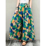 Pantalón ancho Mujer Estampado geométrico Cintura elástica Bolsillos laterales Pantalones