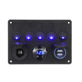 12 / 24V 5 Gang Blue LED Rocker Switch Panel Dual USB Coche barco Marine RV Truck ON-OFF