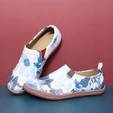 Women Flower Ink Painting Pattern Soft Slip On Casual Flats