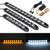 2X Fluindo LED Luzes Flexível DRL Turn Sign Lamp Strip Switchback Branco / Âmbar