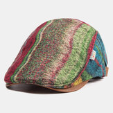 Plaid Stitching Beret Caps Warm Newboys Hats