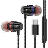 PTM M4 Type-C Cableado en la oreja Auriculares Metal Auricular Control de línea con micrófono para Xiaomi Huawei