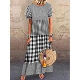 Kadın Kısa Kollu O-Yaka Ekose Dikiş Maxi Elbise