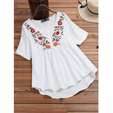 Irregular Hem Short Sleeve Floral Embroidery Vintage Blouse