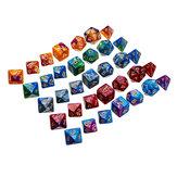 35Pcs Acrílico Polyhedral Dice Set Role Game Dices Gadget para Dungeons Dragons D20 D12 D10 D8 D6 D4 Jogos
